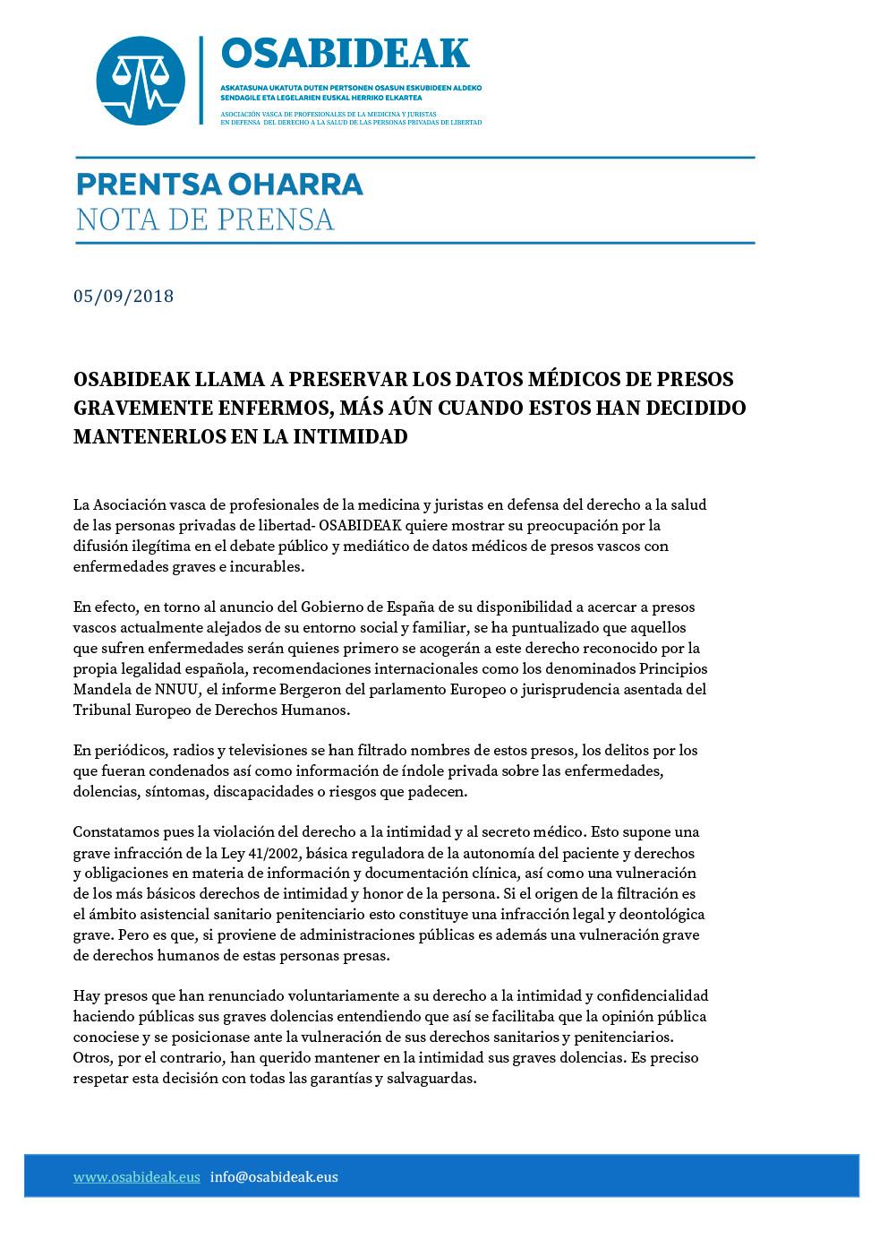 OSABIDEAK LLAMA A PRESERVAR LOS DATOS MÉDICOS DE PRESOS GRAVEMENTE ENFERMOS, MÁS AÚN CUANDO ESTOS HAN DECIDIDO MANTENERLOS EN LA INTIMIDAD